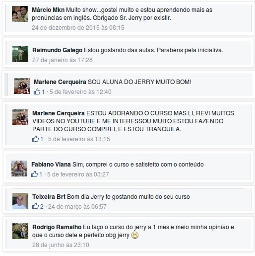 Depoimentos do Inglês do Jerry no Facebook