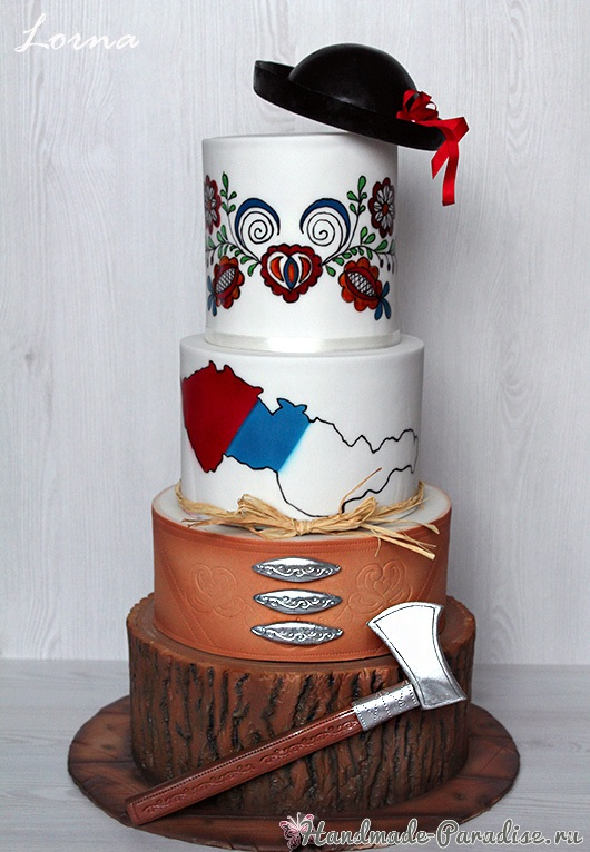 3D торт лесной тематики из сахарной мастики (4)