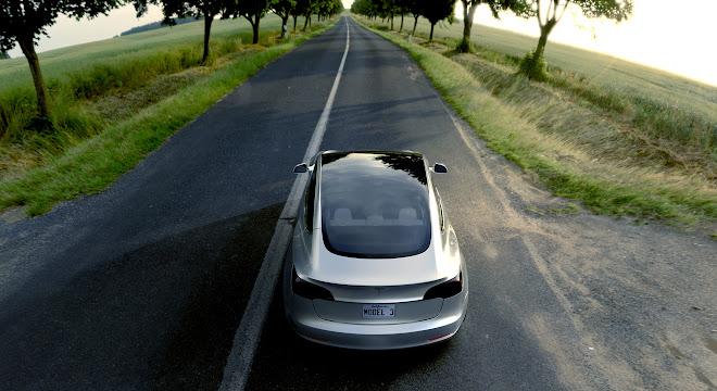 Tesla Model 3 rear seen from above