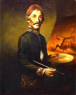 Lukisan Karya Raden Saleh dengan Tema Self Potrait (Raden Saleh)  - Tahun Pembuatan: 1920 - Deskripsi: Dokumentasi Edwin's Gallery
