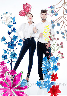 Couple Shot, Skinny Jeans, White Shirts, Floral Graphics Toabh Models