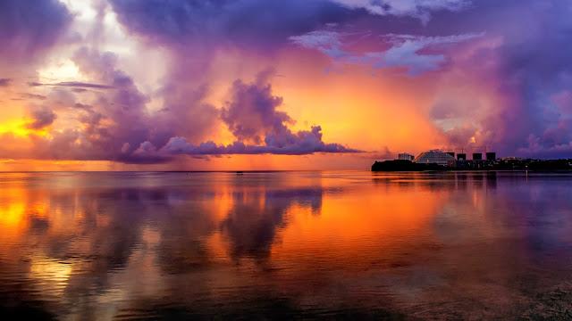 foto hermoso paisaje natural playa al atardecer