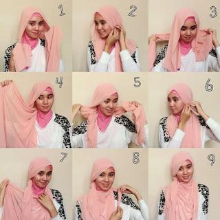 Tutorial hijab pashmina wajah bulat elegan