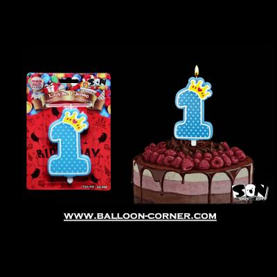 Lilin Ulang Tahun Angka 1 Jumbo / Lilin 1st Birthday (Biru)