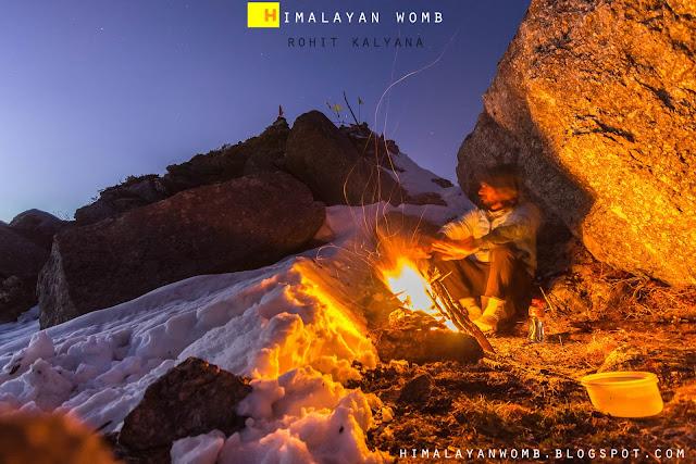 Winter camping at hanumangarh peak 3070 m. This peak is in bir billing  area of kangra district of Himachal pradesh. Rohit kalyana. www.himalayanwomb.blogspot.com