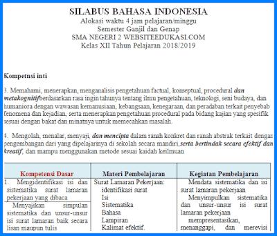 Silabus Bahasa Indonesia Kelas 12 K13 Revisi 2018