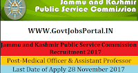 Jammu and Kashmir Public Service Commission Recruitment 2017 – 629 Medical Officer & Assistant Professor