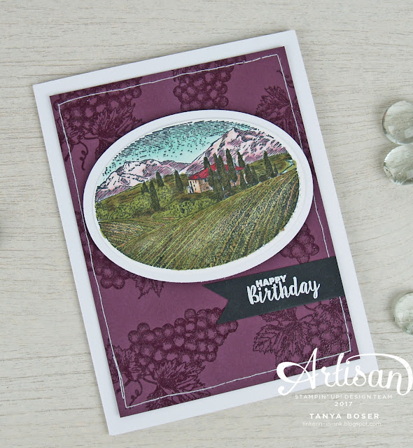 Tuscan Vineyard and Blends from Stampin' Up! create a wine themed birthday card. ~Tanya Boser for Inky Friends