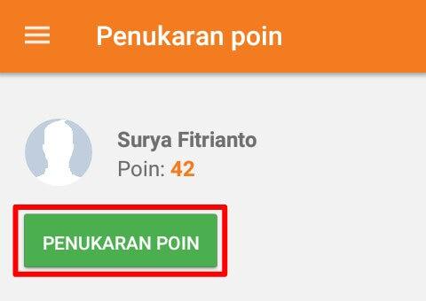 "Kumpulkan Points sebanyak-banyaknya hingga batas minimal penukaran / withdraw yaitu Rp. 25.000,- Pulsa dan membutuhkan Poin sebanyak 500. Anda bisa melakukan withdraw pada menu ""Penukaran Poin""."