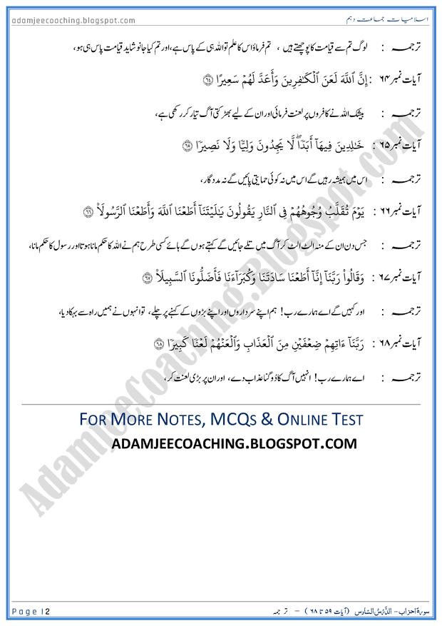 surah-al-ahzab-ayat-59-to-68-ayat-ka-tarjuma-islamiat-10th