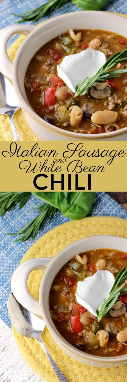 Italian Sausage and White Bean Chili made with Italian Pork Sausage and Cannellini beans pinnable image