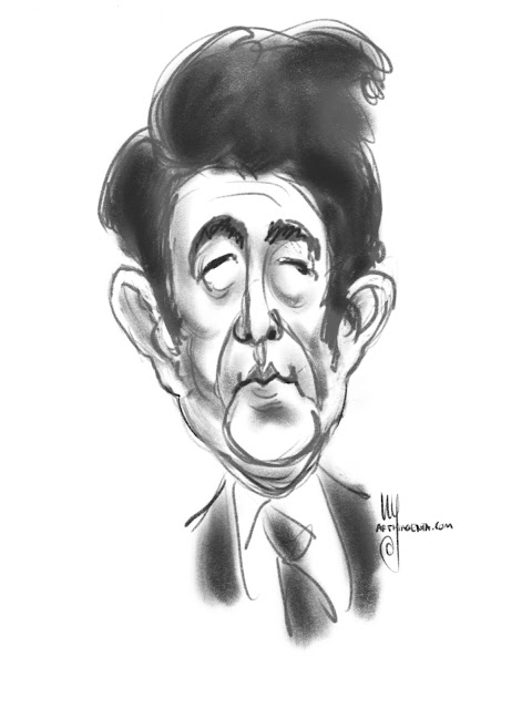 Shinzo Abe caricature by Ulf Artmagenta