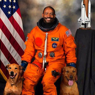Leland Melvin with Jake and Scout