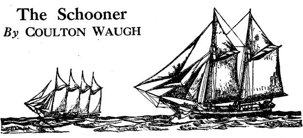 Illustration for The Schooner by Coulton Waugh - January, 1936 issue of Blue Book magazine