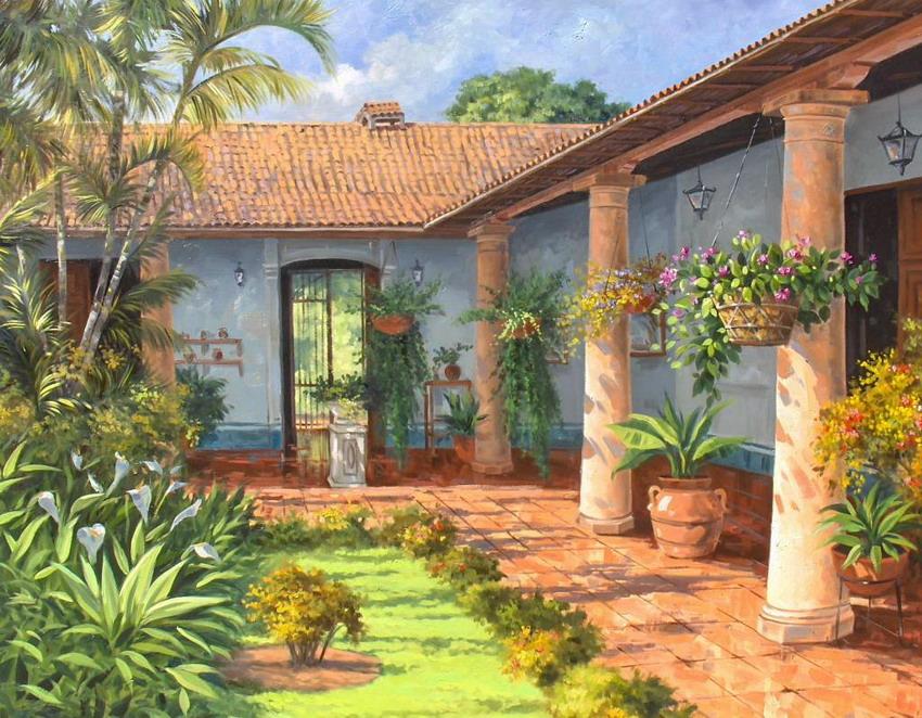 Im genes arte pinturas cuadros con casas de campo pintadas leo jos boraure lara - Escuela de hosteleria casa de campo ...