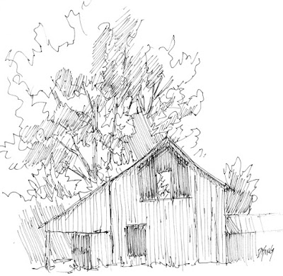 art sketch pen ink rural barn tree farm