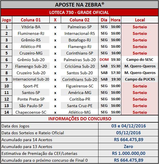 LOTECA 730 - PROGRAMAÇÃO / GRADE OFICIAL 05