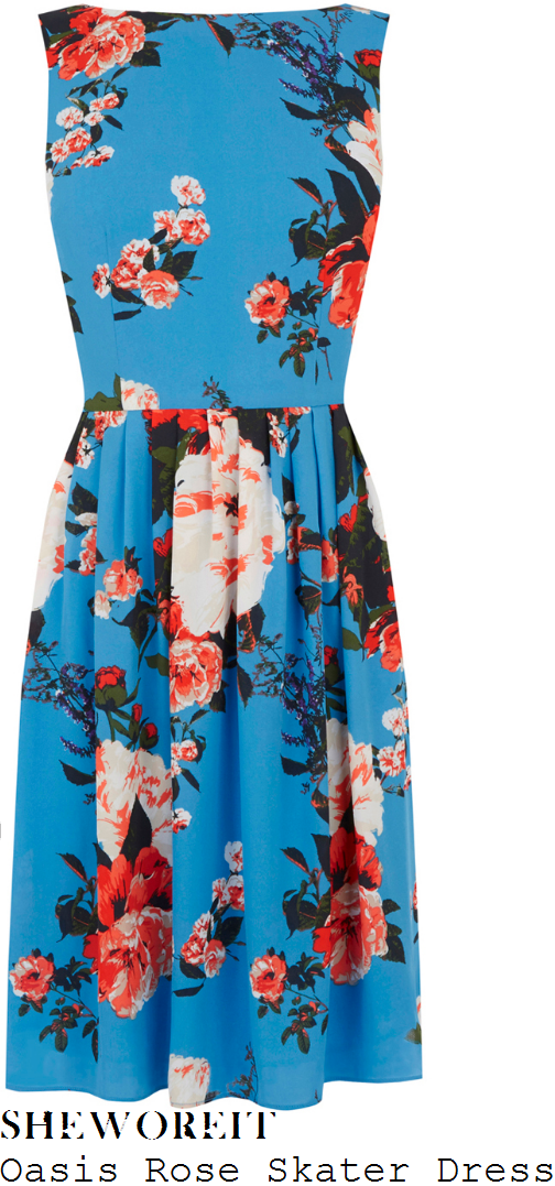 lisa-snowdon-oasis-blue-cream-orange-and-multicoloured-oversized-rose-floral-print-sleeveless-high-waisted-pleated-fit-and-flare-skater-dress