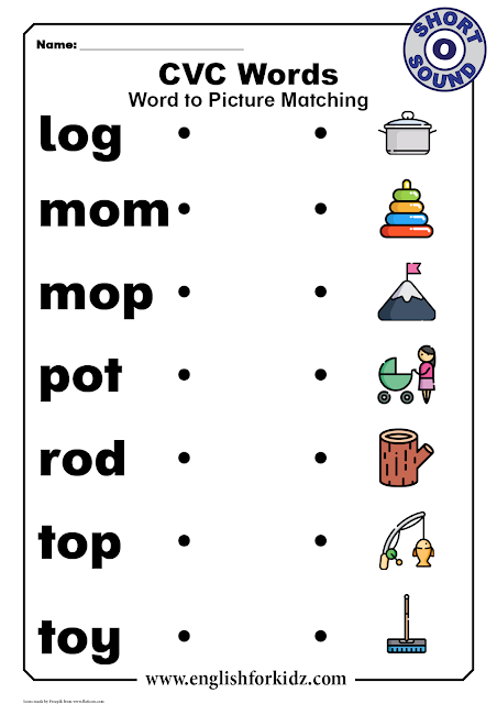 CVC worksheet for kindergarten and elementary school