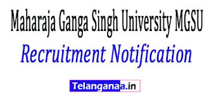 Maharaja Ganga Singh University MGSU Recruitment Notification 2017