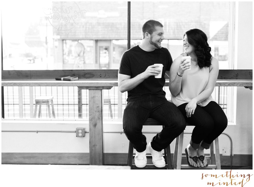 Coffee Shop Engagement Session | The Woolley Market | Something Minted Photography