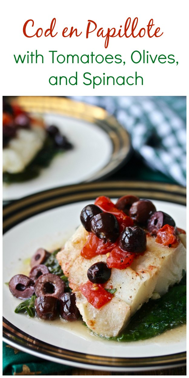 Sheet Pan Cod with Spinach, Tomatoes, and Olives en Papillote