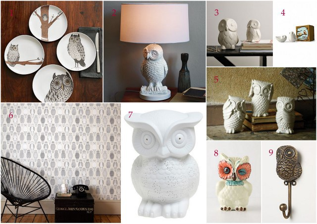 Collection of Owl shaped items