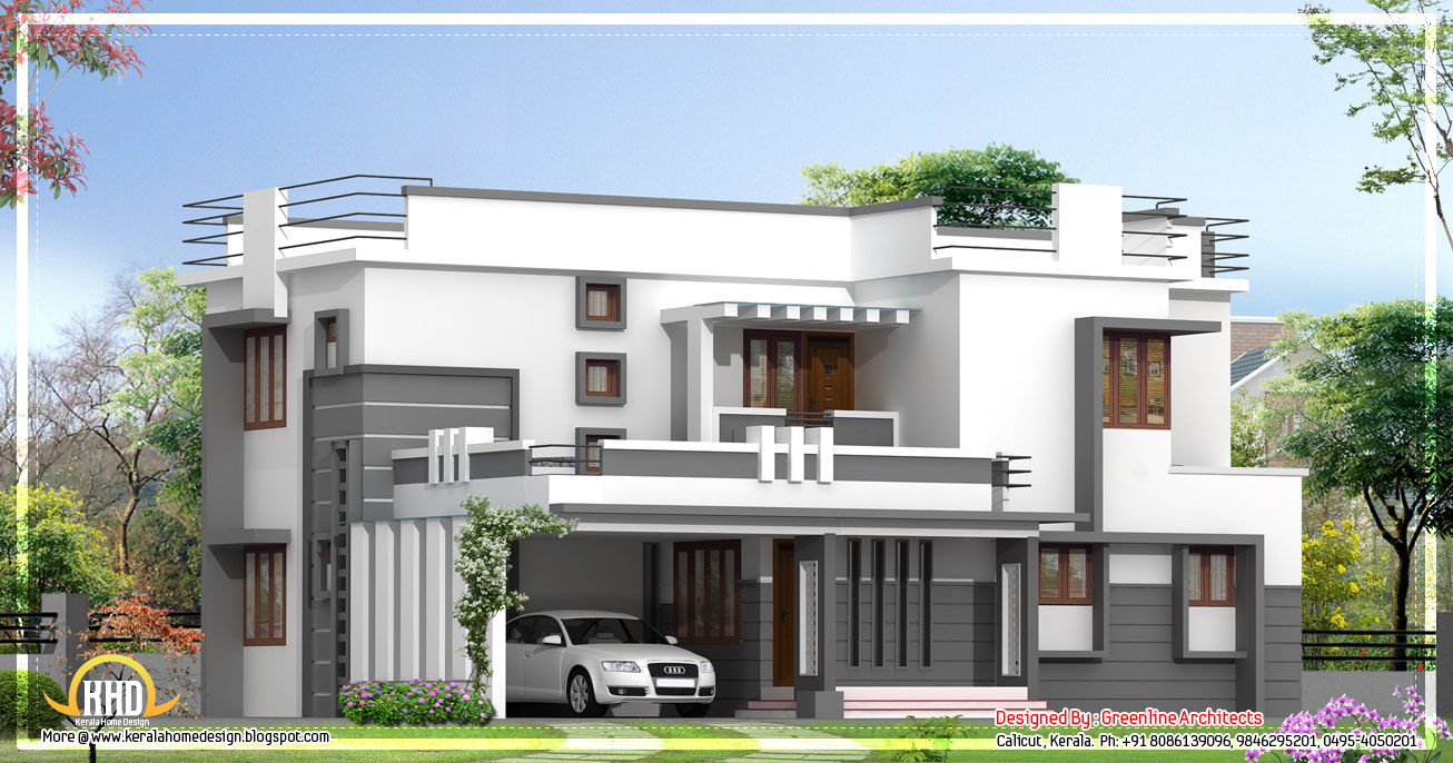 Two floor houses with 3rd floor serving as a roof deck for Modern house in kerala