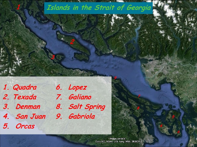 Strait of Georgia Map of Islands