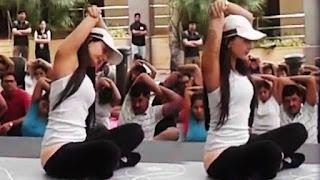 Amisha Patel Doing Yoga In Public