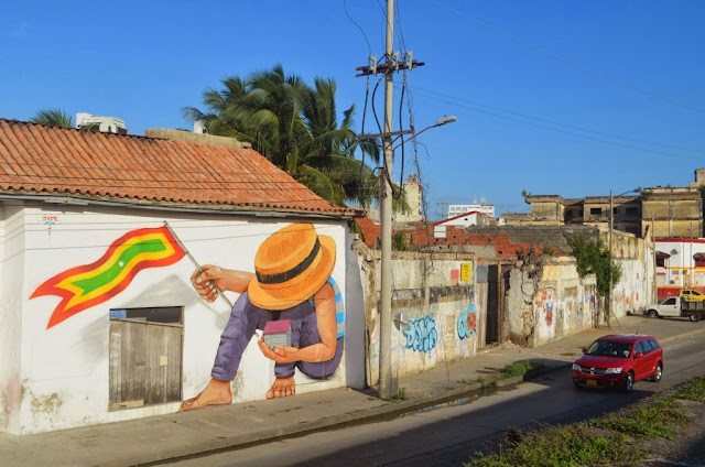 Street Art by Peruvian Artist JADE on the streets of Cartagena in Colombia. 1