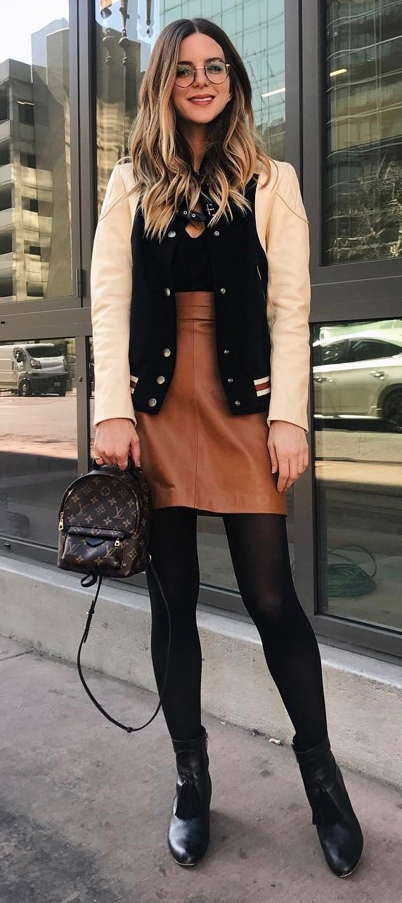 casual outfit inspiration: bomber + top + leather skirt + bag + boots