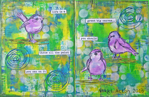 Scribbly Birds Journal - Dylusions Paint