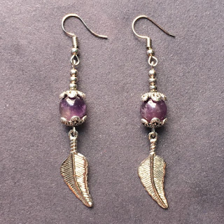 Amethyst Bead Dangle Earrings