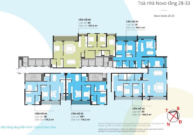 Mặt bằng tầng 28 - 33 tòa NOVO dự án Kosmo Tây Hồ