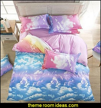White Pink Blue Yellow Rainbow Cloud for Girls Bedding Sets Fitted Sheet Sets Duvet Cover Sets