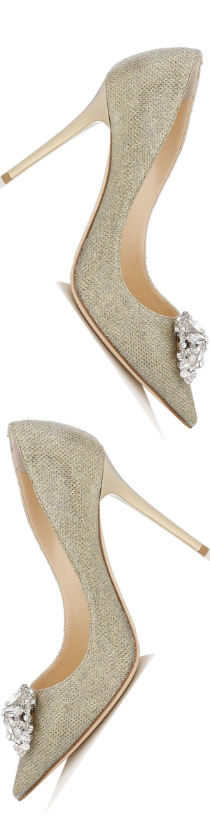 Jimmy Choo Manda Anthracite Lamé Glitter Pumps