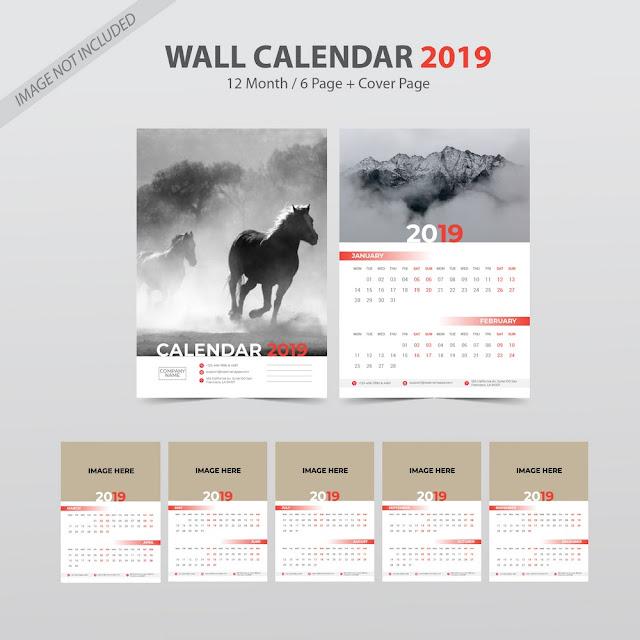 Plantilla para calendario bimestral de pared para el año 2019