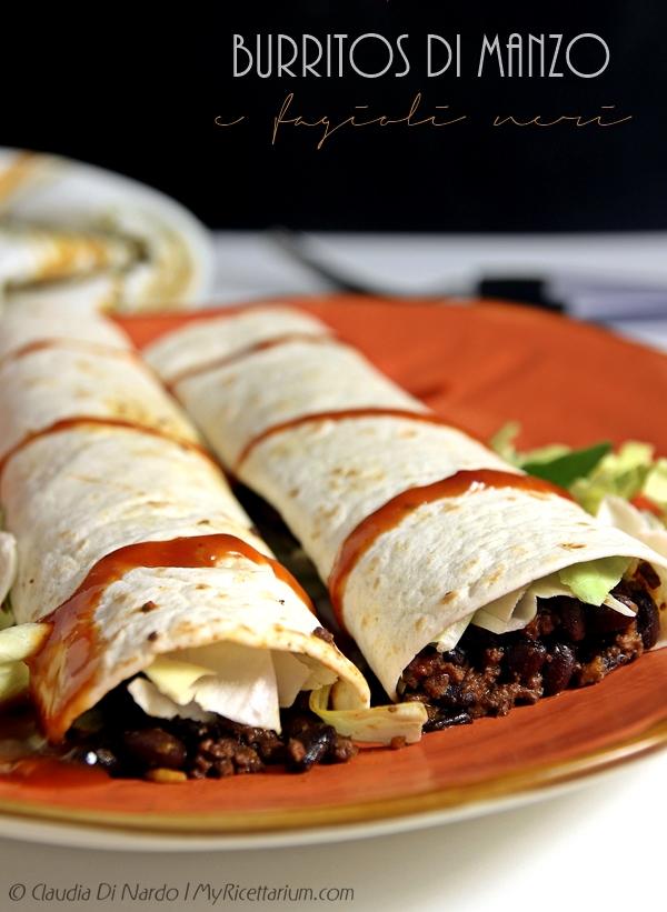 Burritos di manzo e fagioli neri