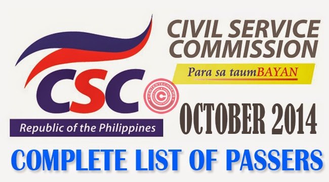 Civil Service Exam Results October 2014 Complete List of Passers for CSE-PPT