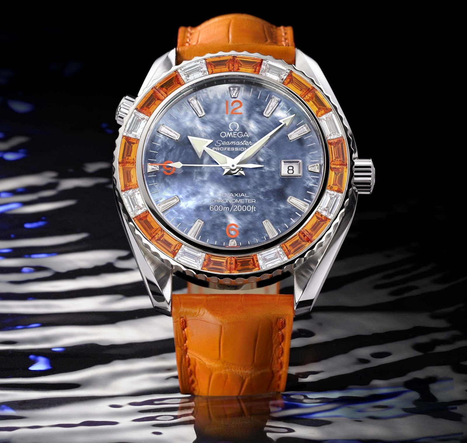 Omega Planet Ocean 'Orange Mecanique' automatic diving watch 600 meters