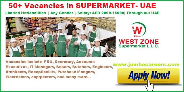 Bakery Chefs for Supermarkets UAE 2018, Butchers job vacancies UAE 2018, Latest PRO jobs in UAE 2018, Latest Document controller jobs in UAE 2018, Westzone supermarket Document controller jobs 2018, Temporary Architect jobs in Dubai 2018, MEP Engineers temporary vacancies in UAE 2018