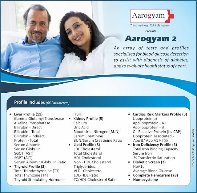Aarogyam 2 - Lipid (Cholesterol) + Cardiac Risk Markers + Homocysteine + Diabetic  @ Rs1400 / 66 tests