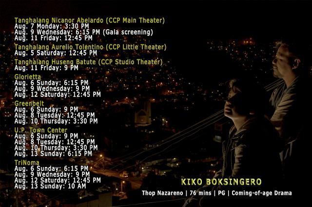 KIKO BOKSINGERO cinemalaya schedule