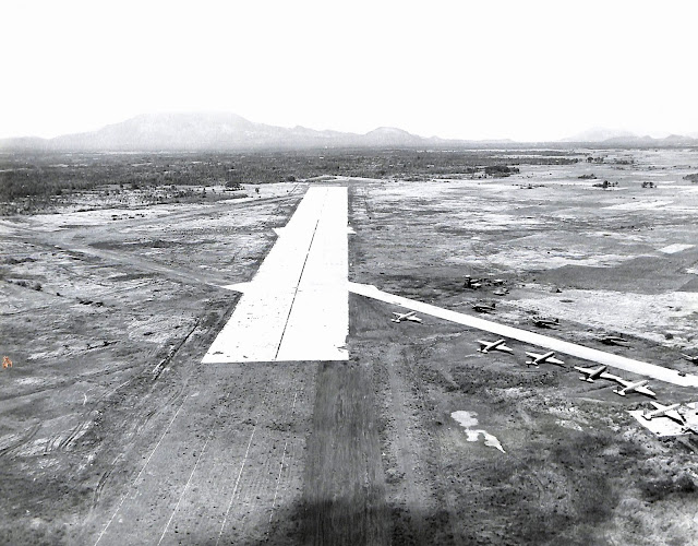 The runway at Lipa Airstrip, 1945.  Image source:  United States National Archives.