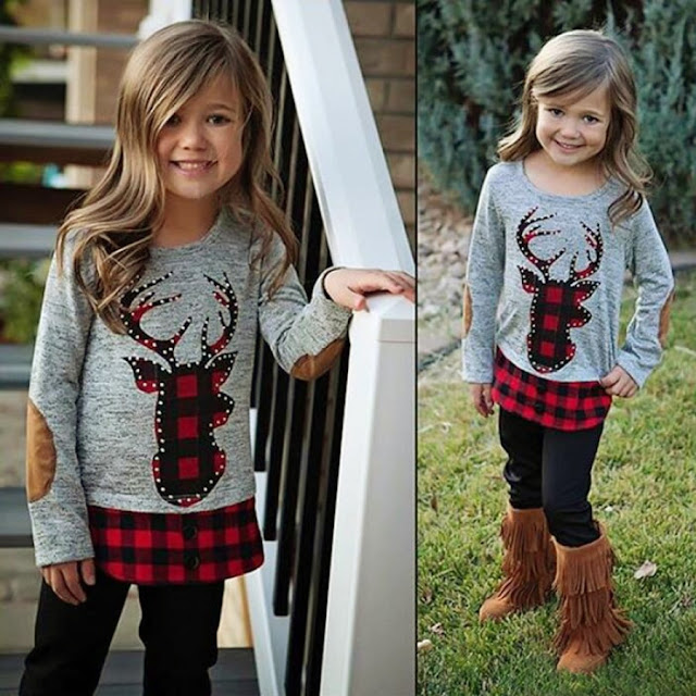 Reindeer Pattern Plaid Top Trouser Sets
