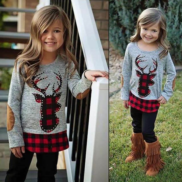 Reindeer Pattern Plaid Top Trouser Sets
