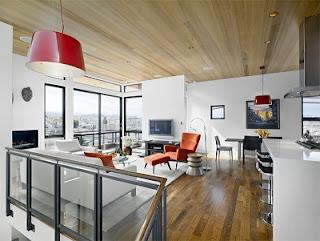 Sala con techo de madera