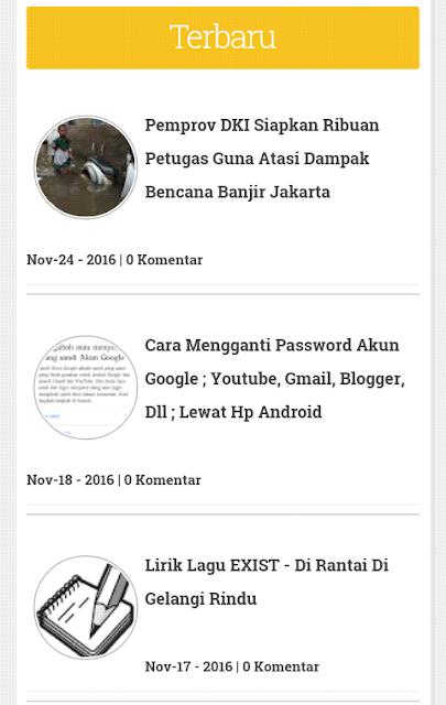 Widget Recent Post Elegan Dengan Gambar Untuk Blogger