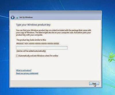 Masukkan product key Windows 7